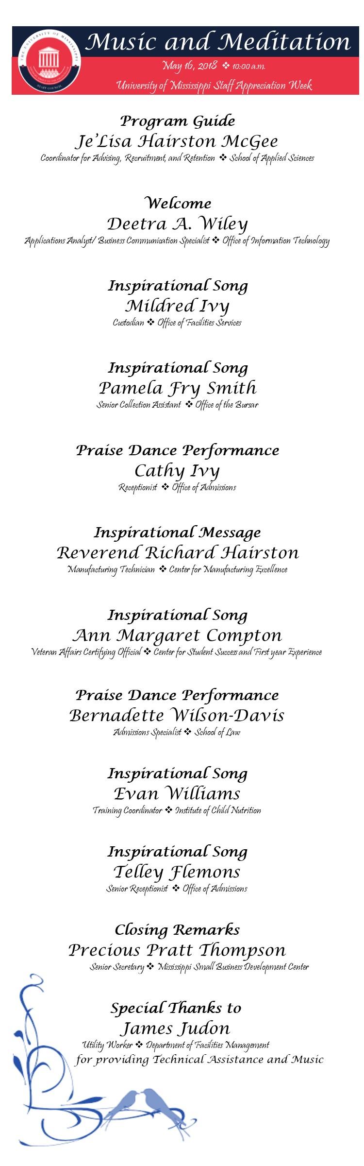 Program or Music & Meditation 2018